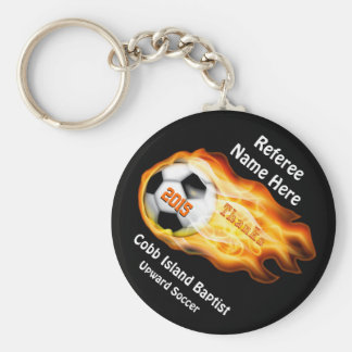 Gifts for Soccer Referees or Coaches, 4 Text Boxes Basic Round Button Key Ring