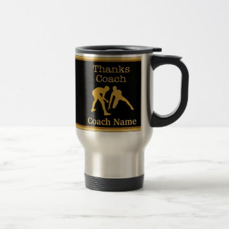 Gifts for Wrestling Coaches, Your TEXT and COLORS Travel Mug
