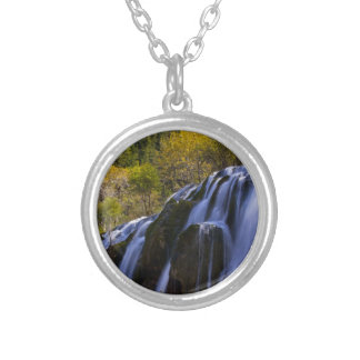 Gigantic Waterfall in a China Jiuzhaigou Silver Plated Necklace