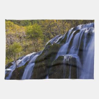 Gigantic Waterfall in a China Jiuzhaigou Tea Towel