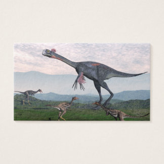 Gigantoraptor and small mononykus dinosaurs - 3D r Business Card