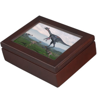Gigantoraptor and small mononykus dinosaurs - 3D r Keepsake Box