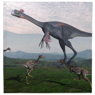 Gigantoraptor and small mononykus dinosaurs - 3D r Napkin