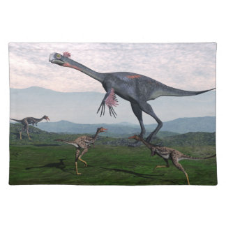 Gigantoraptor and small mononykus dinosaurs - 3D r Placemat