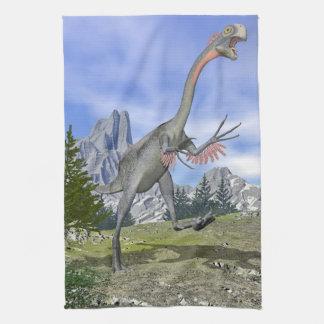 Gigantoraptor dinosaur running - 3D render Tea Towel