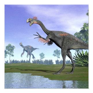 Gigantoraptor dinosaurs in nature - 3D render Card