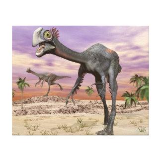 Gigantoraptor dinosaurs in the desert - 3D render Canvas Print