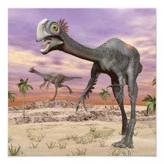 Gigantoraptor dinosaurs in the desert - 3D render Card