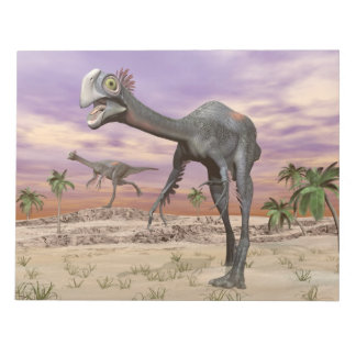 Gigantoraptor dinosaurs in the desert - 3D render Notepad