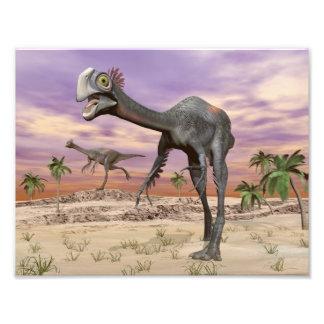 Gigantoraptor dinosaurs in the desert - 3D render Photo Print
