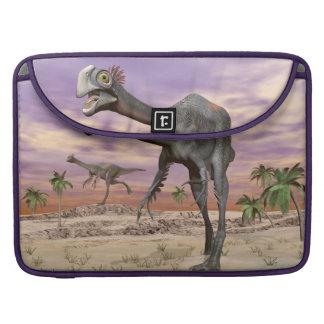 Gigantoraptor dinosaurs in the desert - 3D render Sleeve For MacBook Pro