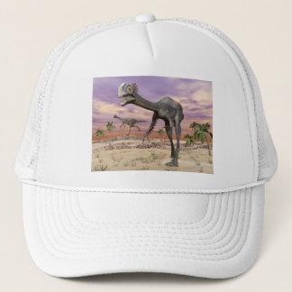 Gigantoraptor dinosaurs in the desert - 3D render Trucker Hat
