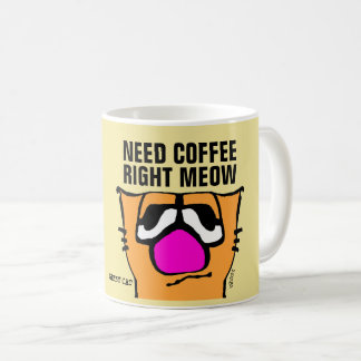 GIIBBY CAT Funny Coffee Mugs, RIGHT MEOW Coffee Mug