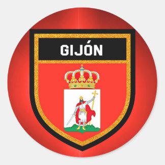 Gijón Flag Classic Round Sticker