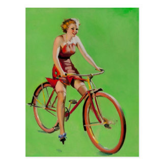 GIL ELVGREN Free Wheeling Pin Up Art Postcard