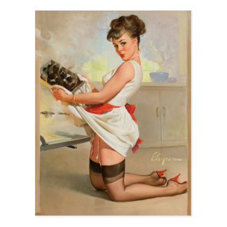 GIL ELVGREN Let's Eat Out Pin Up Art Postcard