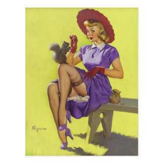 GIL ELVGREN Making Friends Pin Up Art Postcard