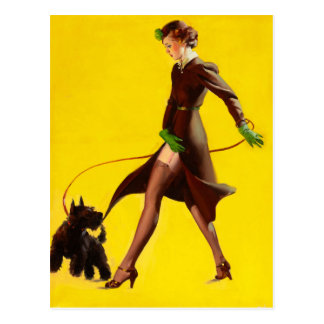 GIL ELVGREN Man's Best Friend Pin Up Art Postcard