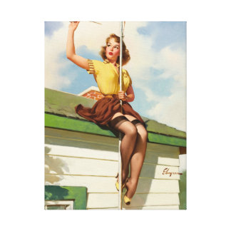 GIL ELVGREN On the House, 1958 Pin Up Art Canvas Print