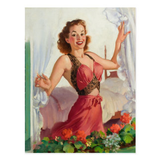 GIL ELVGREN Peering Through the Window Pin Up Art Postcard