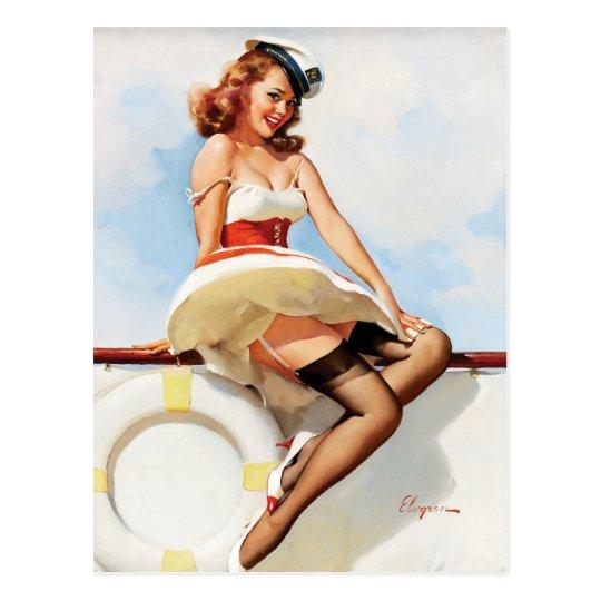 GIL ELVGREN Sailor Girl, 1970s Pin Up Art Postcard