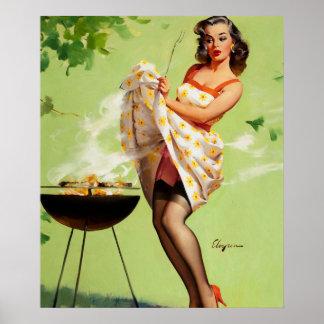 GIL ELVGREN Smoke Screen Pin Up Art Poster