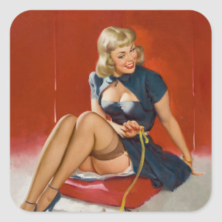 GIL ELVGREN Some Cute Tricks Pin Up Art Square Sticker