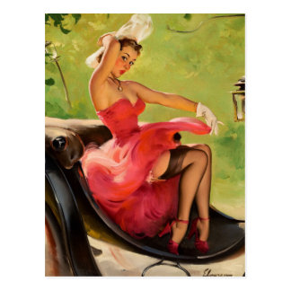 GIL ELVGREN Up in Central Park Pin Up Art Postcard