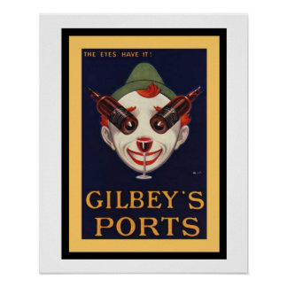 Gilbey's Ports Vintage Ad Poster