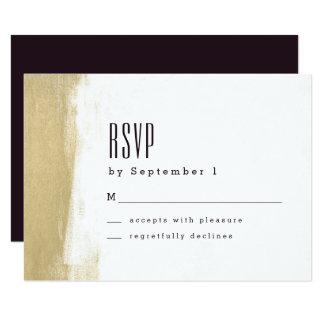 Gilded Brush Wedding RSVP Card