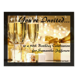 Gilded Bubbly 50th Birthday Party Card