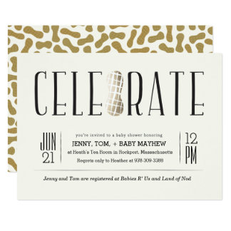 Gilded Celebrate The Peanut Baby Shower Invitation