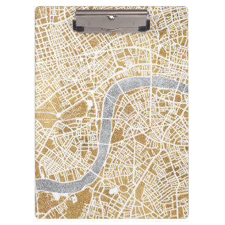 Gilded City Map Of London Clipboard