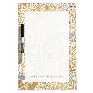 Gilded City Map Of London Dry Erase Board