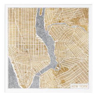 Gilded City Map Of New York Acrylic Wall Art