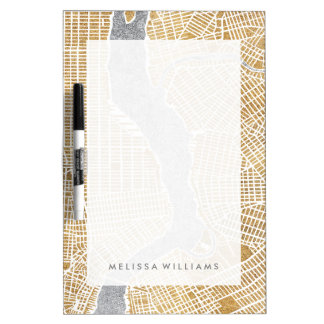 Gilded City Map Of New York Dry Erase Board