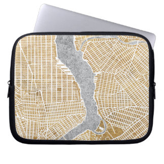 Gilded City Map Of New York Laptop Sleeve
