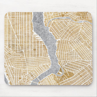 Gilded City Map Of New York Mouse Pad