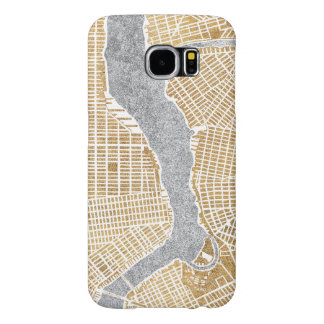 Gilded City Map Of New York Samsung Galaxy S6 Cases