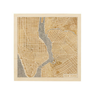 Gilded City Map Of New York Wood Wall Decor