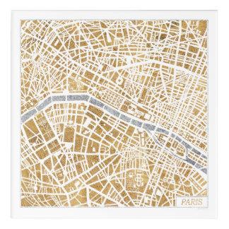 Gilded City Map Of Paris Acrylic Wall Art