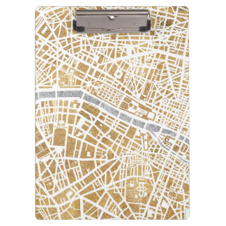 Gilded City Map Of Paris Clipboard