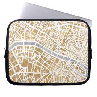 Gilded City Map Of Paris Laptop Sleeve