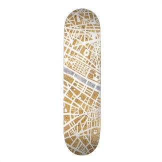 Gilded City Map Of Paris Skate Board Deck