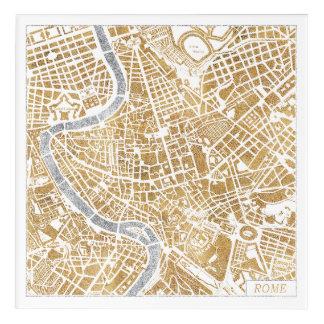 Gilded City Map Of Rome Acrylic Wall Art