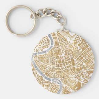 Gilded City Map Of Rome Basic Round Button Key Ring