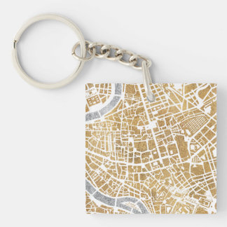 Gilded City Map Of Rome Double-Sided Square Acrylic Key Ring