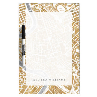 Gilded City Map Of Rome Dry Erase Whiteboard