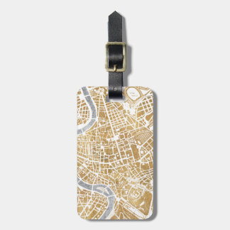 Gilded City Map Of Rome Luggage Tag