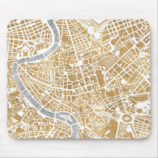 Gilded City Map Of Rome Mouse Pad